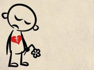 Unrequited love - dad cartoon with broken heart